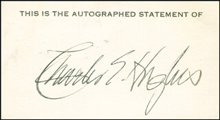 CHIEF JUSTICE CHARLES E HUGHES - PRINTED CARD SIGNED IN INK