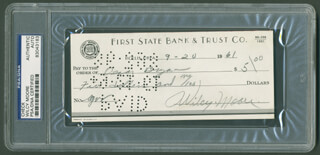 WILCY CY MOORE - AUTOGRAPHED SIGNED CHECK 09/20/1961