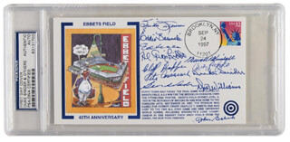 Autographs: THE BROOKLYN DODGERS - COMMEMORATIVE COVER SIGNED CO-SIGNED BY: AL THE LITTLE ITALIAN GIONFRIDDO, ANDY HANDY ANDY PAFKO, DICK WILLIAMS, BEN (BENJAMIN STYRON) WADE, JOHNNY BABICH, PETE COSCARART, SPIDER (JOHN) JORGENSEN, CLIFF DAPPER, EDDIE FIDDLER BASINSKI, DUKE SNIDER, NEWT (NEWELL) KIMBALL