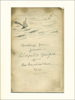 Autographs: SIR WILFRED T. GRENFELL - INSCRIBED ORIGINAL ART SIGNED 1933