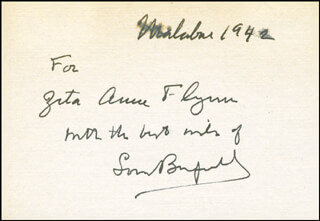 Autographs: LOUIS BROMFIELD - AUTOGRAPH NOTE SIGNED 1942
