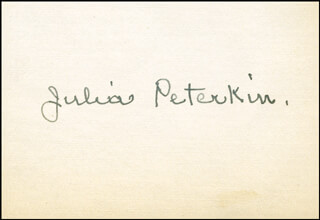 Autographs: JULIA PETERKIN - AUTOGRAPH NOTE SIGNED
