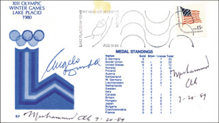 Autographs: MUHAMMAD THE GREATEST ALI - COMMEMORATIVE ENVELOPE SIGNED 07/20/1989 CO-SIGNED BY: ANGELO DUNDEE