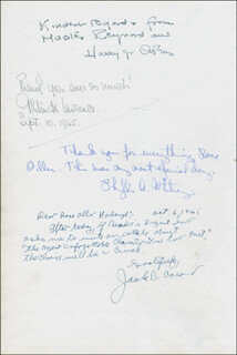 Autographs: PHYLLIS A. WHITNEY - AUTOGRAPH NOTE SIGNED 1945 CO-SIGNED BY: IRMA S. ROMBAUER, RUSSELL A. BYRD, RUTH HUNTER, ALEKSANDER JANTA, HARRY J. OWENS