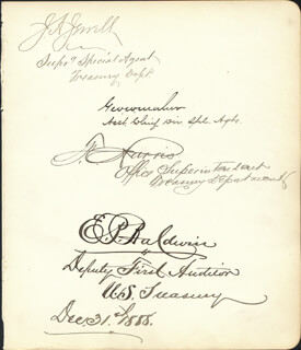 Autographs: E. P. BALDWIN - SIGNATURE(S) 12/31/1888 CO-SIGNED BY: J. A. JEWELL, GEORGE W. W. MALUR, J. HARRIS