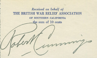 ROBERT BOB CUMMINGS - RECEIPT SIGNED