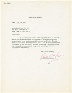 ROD TAYLOR - DOCUMENT SIGNED 10/18/1962