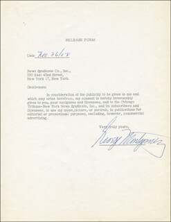 GEORGE MONTGOMERY - DOCUMENT SIGNED 11/26/1958