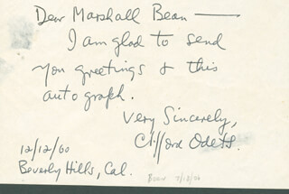 CLIFFORD ODETS - AUTOGRAPH NOTE SIGNED 12/12/1960