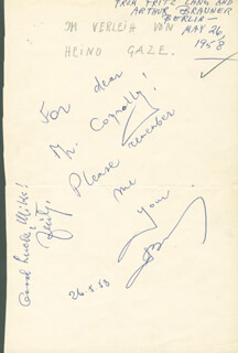 FRITZ LANG - AUTOGRAPH NOTE SIGNED 05/26/1958 CO-SIGNED BY: ARTUR BRAUNER