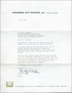 BILLY WILDER - TYPED LETTER SIGNED