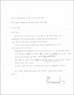 LARRY McMURTRY - TYPED LETTER SIGNED 01/06/2000