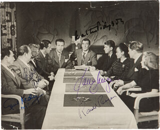 PRESIDENT RONALD REAGAN - AUTOGRAPHED SIGNED PHOTOGRAPH CO-SIGNED BY: GENE KELLY, WALTER PIDGEON, JANE WYMAN, EDWARD ARNOLD - HFSID 287527