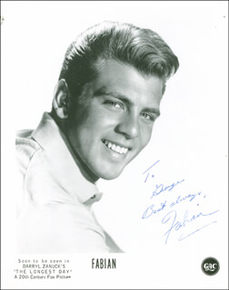 FABIAN - AUTOGRAPHED INSCRIBED PHOTOGRAPH