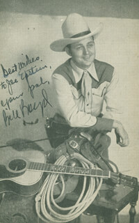 BILL COWBOY RAMBLER BOYD - AUTOGRAPH LETTER ON PHOTOGRAPH SIGNED TWICE 02/25/1942