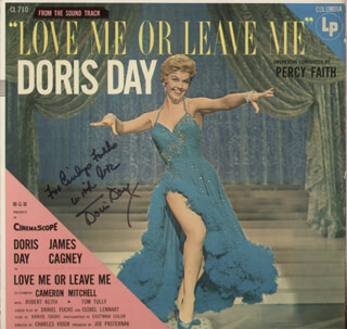DORIS DAY - INSCRIBED RECORD ALBUM COVER SIGNED