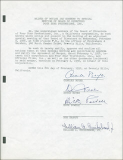 Autographs: CHARLES BOYER - WAIVER SIGNED 02/08/1956 CO-SIGNED BY: DAVID NIVEN, DICK POWELL, WILLIAM A CRUIKSHANK JR.