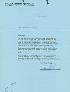 STEWART GRANGER - DOCUMENT SIGNED 05/26/1960