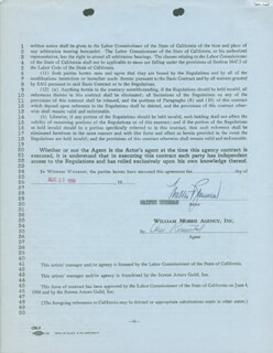 WALTER BRENNAN - CONTRACT SIGNED 08/22/1956