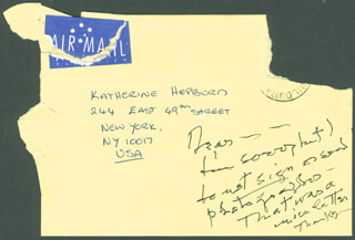 KATHARINE HEPBURN - AUTOGRAPH NOTE UNSIGNED