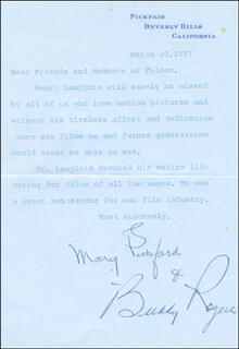 MARY PICKFORD - TYPED LETTER SIGNED 03/10/1977 CO-SIGNED BY: CHARLES BUDDY ROGERS