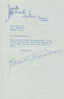 JEANETTE MacDONALD - TYPED LETTER SIGNED