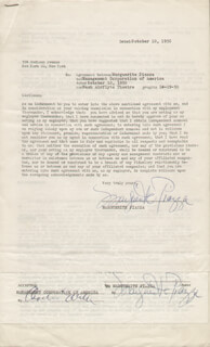 MARGUERITE PIAZZA - CONTRACT MULTI-SIGNED 10/10/1950