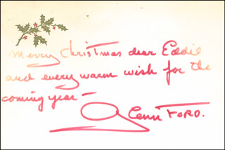 Autographs: GLENN FORD - CHRISTMAS / HOLIDAY CARD SIGNED