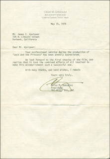 CELSO M. GONZALEZ - TYPED LETTER SIGNED 05/15/1978