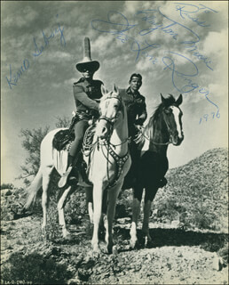 CLAYTON THE LONE RANGER MOORE - AUTOGRAPHED INSCRIBED PHOTOGRAPH 1976