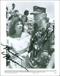 HEARTBREAK RIDGE MOVIE CAST - AUTOGRAPHED SIGNED PHOTOGRAPH CO-SIGNED BY: MARSHA MASON, CLINT EASTWOOD