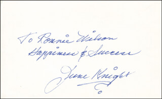 JUNE KNIGHT - AUTOGRAPH NOTE SIGNED