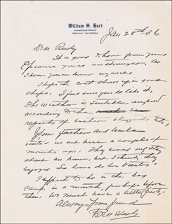 WILLIAM S. HART - AUTOGRAPH LETTER SIGNED 01/28/1936