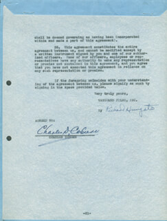CHARLES D. COBURN - DOCUMENT SIGNED 10/25/1946 CO-SIGNED BY: RICHARD HUNGATE