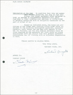 Autographs: CHARLES COBURN - DOCUMENT SIGNED 10/25/1946 CO-SIGNED BY: RICHARD HUNGATE