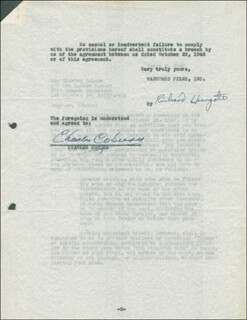 Autographs: CHARLES COBURN - DOCUMENT SIGNED 03/05/1947 CO-SIGNED BY: RICHARD HUNGATE