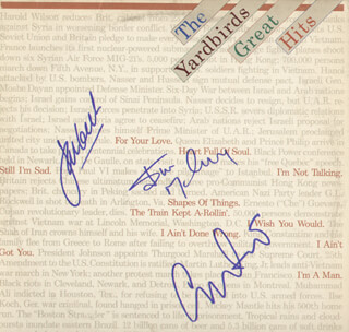 THE YARDBIRDS - RECORD ALBUM COVER SIGNED CO-SIGNED BY: YARDBIRDS (CHRIS DREJA), YARDBYRDS (JIM MCCARTY), JEFF BECK