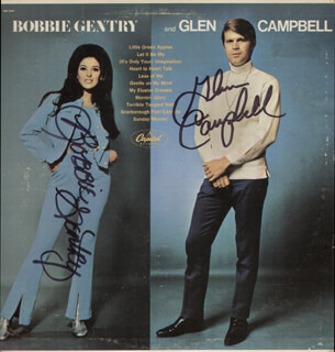 BOBBIE GENTRY - RECORD ALBUM COVER SIGNED CO-SIGNED BY: GLEN CAMPBELL