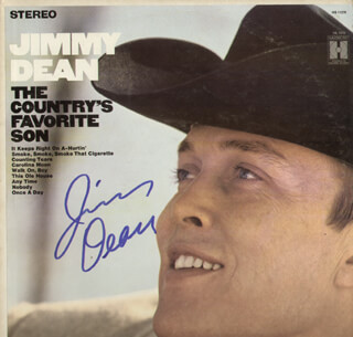 Autographs: JIMMY DEAN - RECORD ALBUM COVER SIGNED
