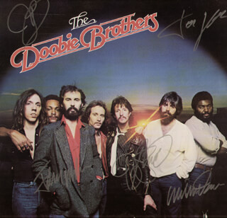 THE DOOBIE BROTHERS - RECORD ALBUM COVER SIGNED CO-SIGNED BY: THE DOOBIE BROTHERS (WILLIS WEEKS), THE DOOBIE BROTHERS (TOM JOHNSTON), THE DOOBIE BROTHERS (JOHN McFEE), THE DOOBIE BROTHERS (TIRAN PORTER), THE DOOBIE BROTHERS (CORNELIUS BUMPUS)