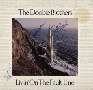 THE DOOBIE BROTHERS - RECORD ALBUM COVER SIGNED CO-SIGNED BY: THE DOOBIE BROTHERS (PAT SIMMONS), MICHAEL McDONALD, THE DOOBIE BROTHERS (TOM JOHNSTON), THE DOOBIE BROTHERS (KEITH KNUDSEN)