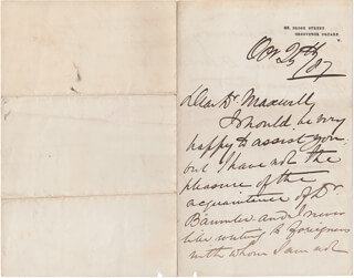 WILLIAM 1ST BARONET JENNER - AUTOGRAPH LETTER SIGNED 10/25/1887