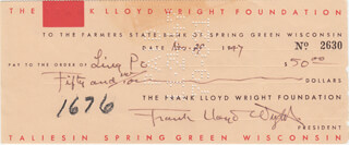 FRANK LLOYD WRIGHT - AUTOGRAPHED SIGNED CHECK 11/29/1947