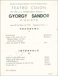 GYORGY SANDOR - PROGRAM SIGNED CIRCA 1967