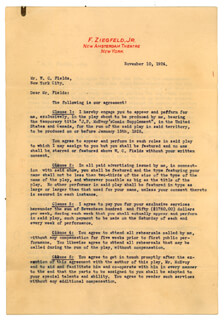 W. C. FIELDS - TYPED LETTER SIGNED 11/10/1924 CO-SIGNED BY: FLORENZ FLO ZIEGFELD JR.