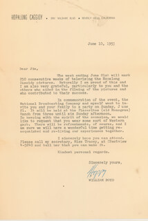 Autographs: WILLIAM HOPPY BOYD - TYPED LETTER SIGNED 06/10/1953