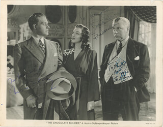 THE CHOCOLATE SOLDIER MOVIE CAST - INSCRIBED PRINTED PHOTOGRAPH SIGNED IN INK CO-SIGNED BY: NIGEL BRUCE, NELSON EDDY, RISE STEVENS