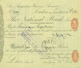 LILLIAN NORDICA - PRINTED DOCUMENT SIGNED IN INK 07/28/1893