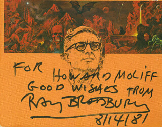RAY BRADBURY - AUTOGRAPH NOTE SIGNED 08/14/1981