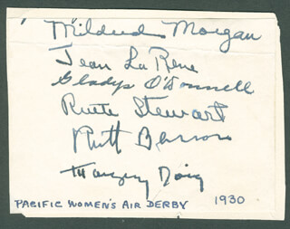 GLADYS O'DONNELL - AUTOGRAPH CO-SIGNED BY: MILDRED MORGAN, JEAN LA RENE, RUTH STEWART, RUTH BARRON, MARGERY DOIG
